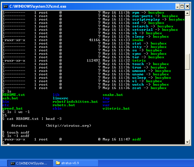 ash running in windows cmd shell